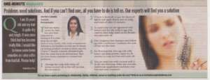 Problems need solutions. And if you can't find one, all you have to do is tell us.  Our expert will find you a solution. - Bangalore Times