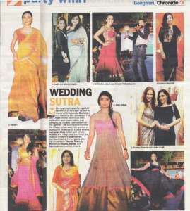 Wedding Sutra - Deccan Chronicle , Bangalore Chronicle.