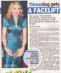 Threading gets a Facelift - Deccan Chronicle , Bangalore Chronicle.