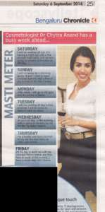 Cosmetologist Dr. Chytra Anand has a busy week ahead - Deccan Chronicle , Bangalore Chronicle.