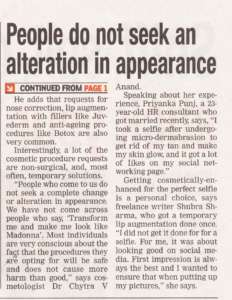 People do not seek an alteration in appearance  - Times of India