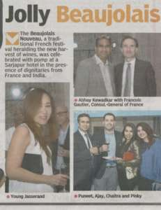 Jolly Beaujolais - Deccan Chronicle , Bangalore Chronicle.