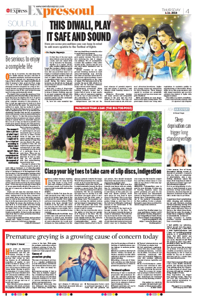 Premature greying is a growing cause of concern today. - The New Indian Express, City Express Bengaluru