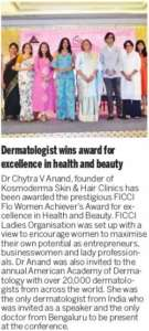 Dr.Chytra receives FICCI FLO Women Achiever's Award 2019, The New Indian Express, 19 March 2019
