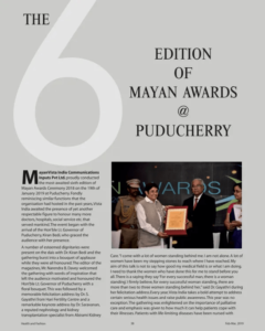 The 6th Edition of Mayan Awards @ Puducherry, Health and Fashion Magazine, February 2019