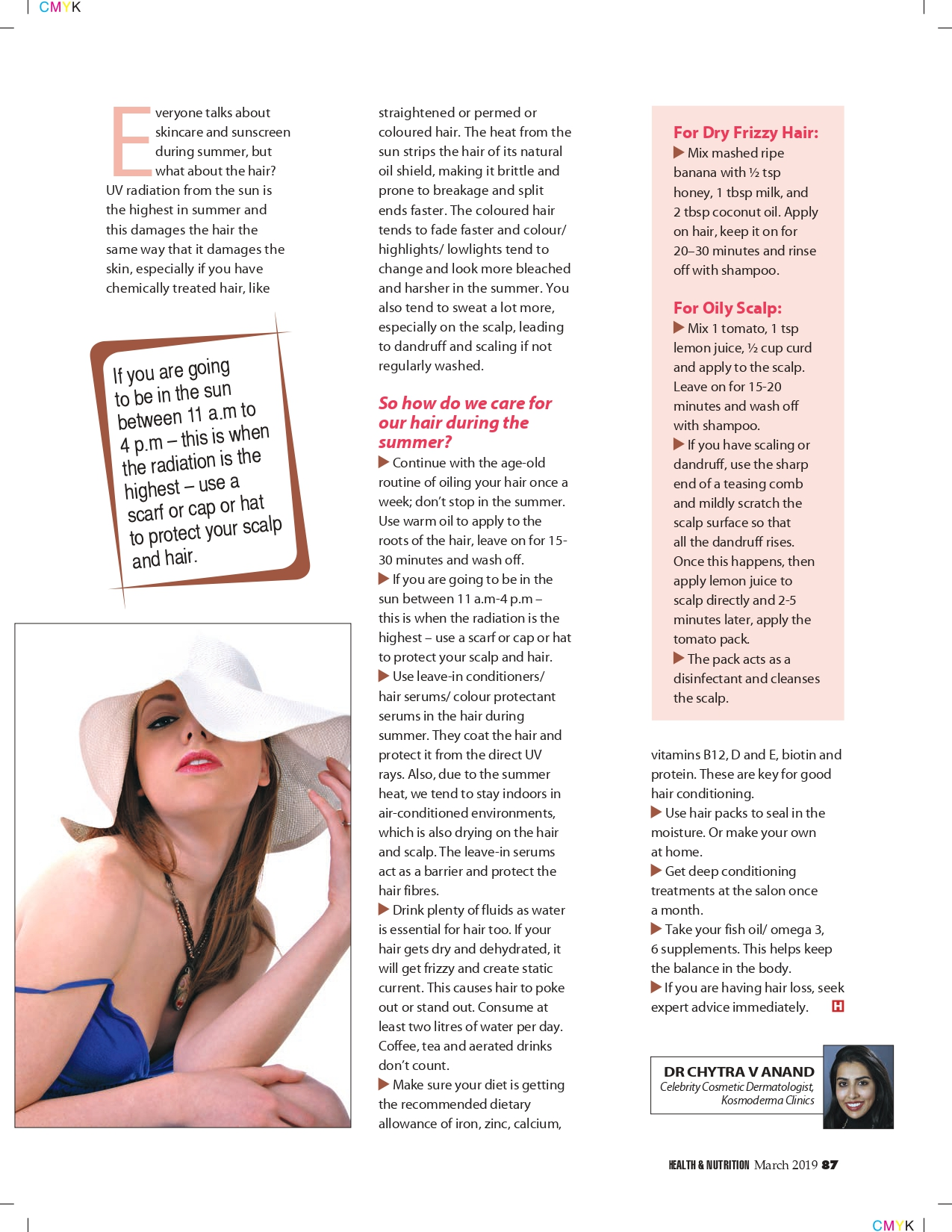 Keep your Hair Protected This Summer, Health & Nutrition Magazine , March 2019